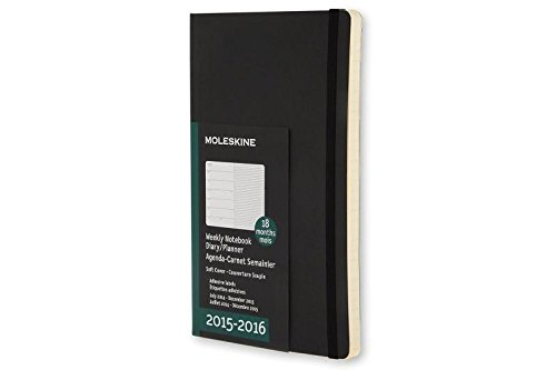Moleskine 2015-2016 Weekly Notebook, 18M, Pocket, Black, Soft Cover (3.5 x 5.5)