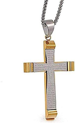 Aluyouqi Co.,ltd Collar Collar de Boda Colgante Grande Catolicismo Cruz Escritura Collares para Padre Novio Marido Hombres Collar Punk de Acero Inoxidable Regalo