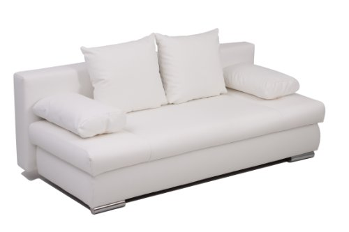 Collection AB Schlafsofa Chicago-PUR Kunstleder, weiß 200 x 95 cm