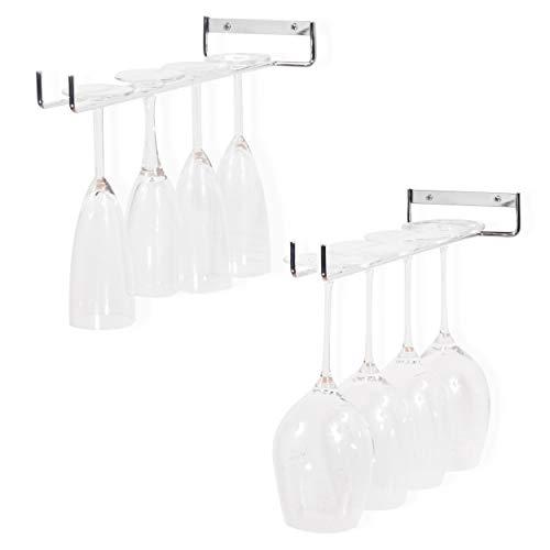Wallniture Chiraz Wine Glass Rack Wall Mounted Kitchen Organization and Storage Set of 2, 15 Inch Chrome Stemware Holder