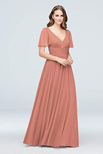 David's Bridal Flutter Sleeve Crisscross Mesh Bridesmaid Dress Style F19933, Desert Coral, 0