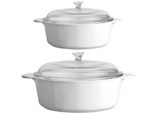 CorningWare 3.5 & 2.5 Quart (3.25 & 2.25 Liter) 2 Dimensions 4-Piece Set Casserole Dishes Glass W/Lid Pyroceram Classic Cooking Pot with Handles & Glass Cover Round Shape - White (Large & Medium)