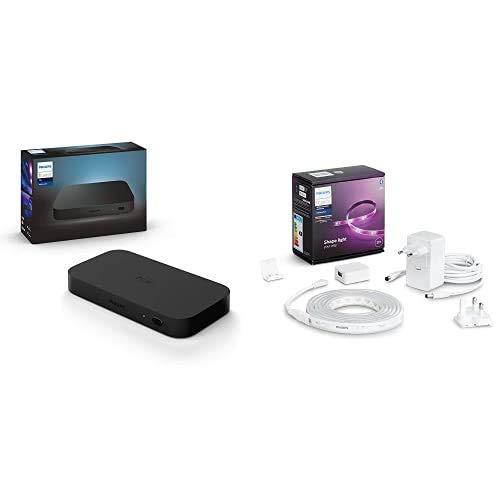 Philips Hue Lightstrip Tira Inteligente LED 2m, con Bluetooth, Luz Blanca y Color + Philips Hue Play HDMI Sync Box caja de sincronización para TV/PC y luces Philips Hue