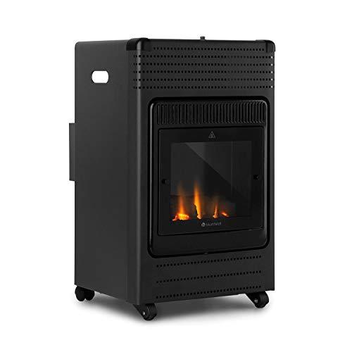 blumfeldt Andora Flame Gasheizofen - zwei Heizstufen mit 2 oder 3,4 kW, bis 11 kg Gasflaschen, Heizfläche: bis 68 m², inkl. Schlauch und Druckminderer, Feuerschein, elektrisches Zündsystem, schwarz