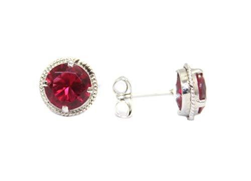 PH - Pendientes de tuerca hechos a mano de plata de ley 925 para mujer con piedras hidroeléctricas rojas - J