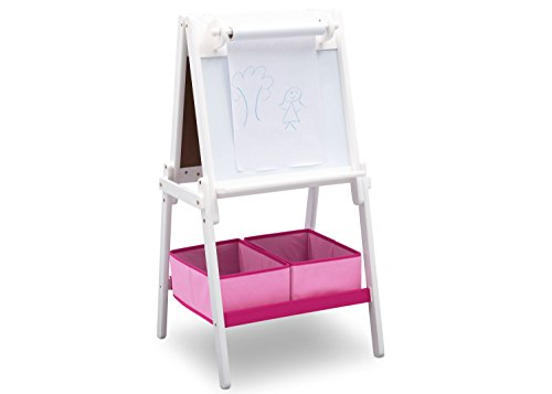 Delta Children MySize Kids Double-Sided Storage Easel -Ideal for Arts & Crafts, Drawing, Homeschooling and More, Bianca White