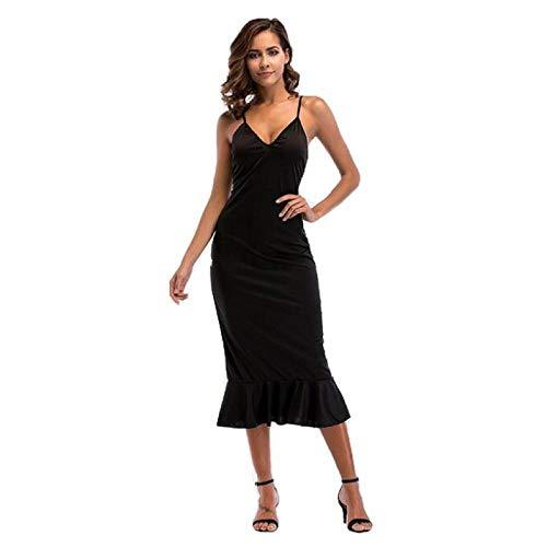 Vestido de Tirantes para Mujer Verano 2020 Falda de Volantes con Espalda Abierta en Europa y América