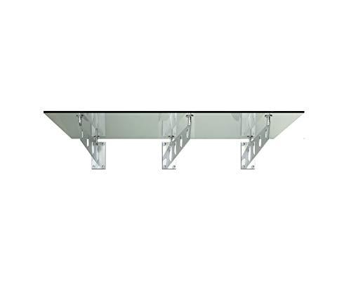 Vordach Glasvordach Türvordach Verbundsicherheitsglas VSG Edelstahl Klarglas (Wahl in 7 Größen & 4 Halterung) (250x90cm (3x S4-Halterung))