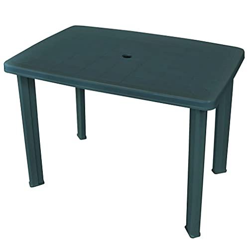 vidaXL Garden Table 101cm Plastic Green Umbrella Hole Outdoor Camping Stand