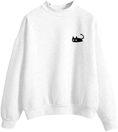 FimKaul Women Graphic Cute Cat Sweaters Funny Solid Color Pullover Tops Teen Girls Sweatshirts product image