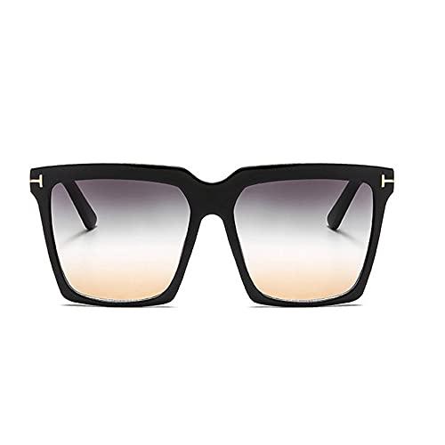 HAIGAFEW Big Letter T Square Gafas De Sol Mujer Uv400 Sombras De Gran Tamaño para Mujer Large Proteger Los Ojos-Té Verde Negro