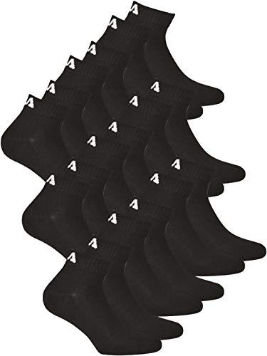 FILA Unisex Quarter Socken für Damen und Herren I 9 Paar Socken I schwarz 35-38