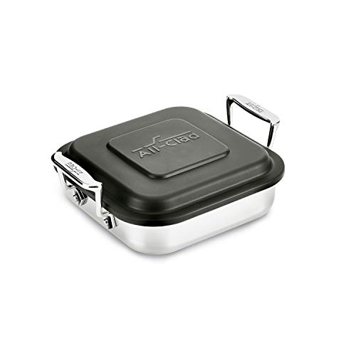 All-Clad E9019464 Gourmet Accessories Stainless Steel Square Baker with Lid Cookware, 8-Inch, Silver