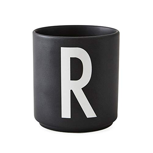 Design Letters Persönliche Porzellantassen Schwarz (R)| Dekorative mit vielen Funktionen | Kaffeebecher/Kaffeetassen | Tasse in Porzellan mit Buchstabe | Personalisierte Geschenke | Erhältlich von A-Z