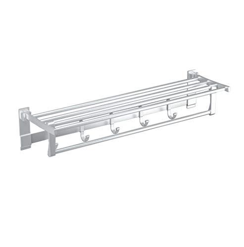 ZZSJC Montado en la Pared Plataforma de baño, Toalla de Aluminio del Estante Plegable Baño de Almacenamiento en Rack, baño de Toallas, baño de Hardware Colgante