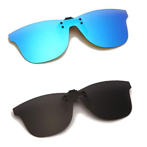 Long Keeper Gafas de Sol Polarizadas con clip Sin Montura Gafas Conducir Noche de Hombre Mujer ANTI-UV400 (Gris + Azul)