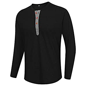 Men's Slub Cotton Henley Shirt Regular-Fit Lightweight Basic T-Shirt with...