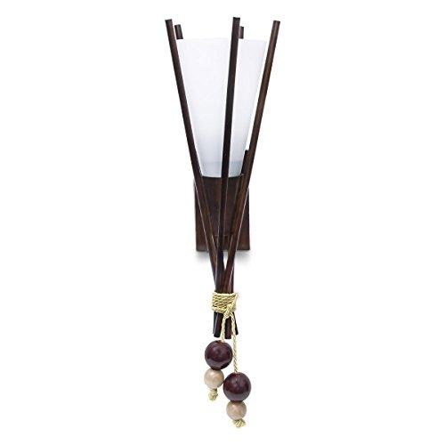Relaxdays wandlamp fakkel berkenhout melkglas materiaalmix, E14