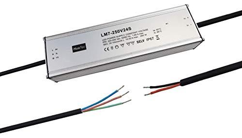 HuaTec Eaglerise Transformador LED 12V 24V 60W 150W 200W 250W 300W Impermeable IP67 Tensión Constante para Tira LED Alimentador Fuente de Alimentación LED (24V 250W)