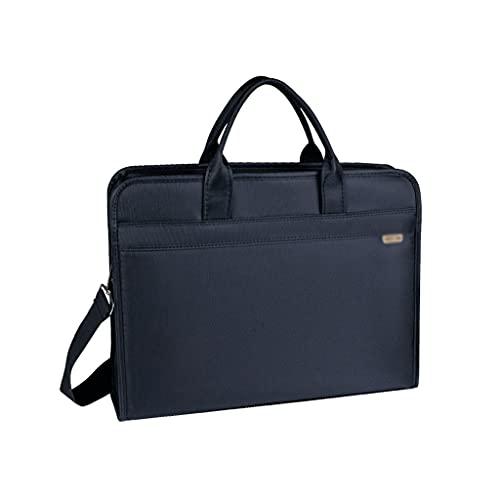 KTNG Portatile Cartella di Tela, Borsa per Laptop da 14 Pollici, Impermeabile Multistrato, Borsa da Ufficio Diagonale da Uomo Morbido Blu, Ufficio Business Adatto (Color : Blue, Dimensione : 14inch)