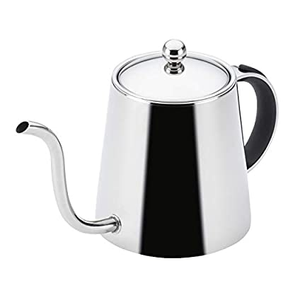 BonJour Stainless Steel Pour Over Teapot with Black Handle, 23-Ounce