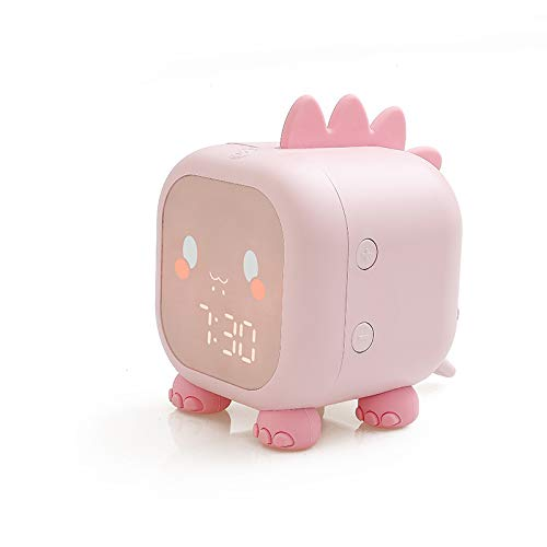 J-ouuo Kids Alarm Clock Cute Dinosaur Digital Alarm Clock for Kids Bedside Clock Children's Sleep Trainer with Indoor Temperature Automatic Wake Up Light and Night Light Sound Control