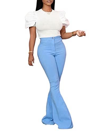 CORAFRITZ Pantalones casuales de cintura alta para mujer, pantalones de tiro alto, pantalones de pierna ancha Palazzo pantalones de chándal con botón
