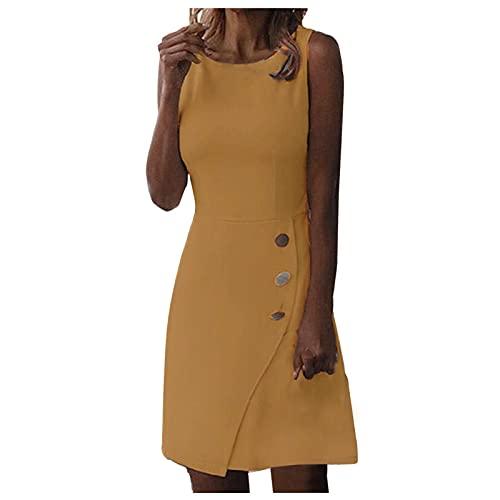 Damen Taschen Sommerkleider mit Knofpen Knielang Kleid Ärmellos Kleid Einfarbige Lose Shirtkleider V-Ausschnitt Leinenkleider Damen A-Linie Businesskleider