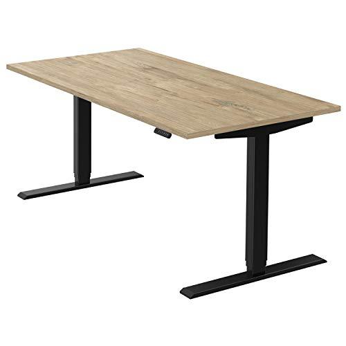 boho office® homedesk - elektrisch stufenlos höhenverstellbares Tischgestell in Schwarz mit Memoryfunktion, inkl. Tischplatte in 160 x 80 cm in Wildeiche