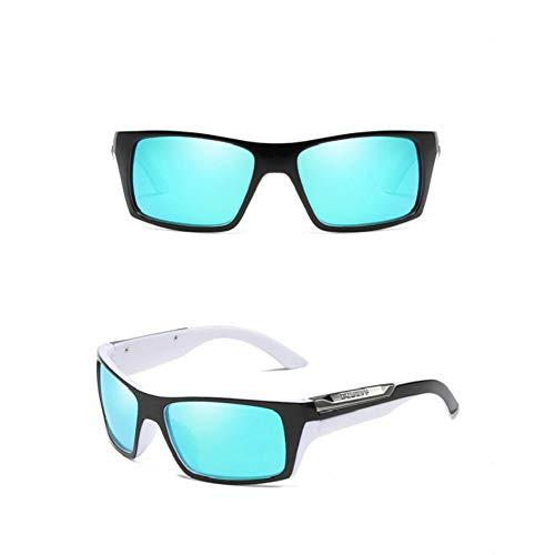 Burenqi Gafas de Sol polarizadas Hombres Gafas de Sol Deporte Mujeres Diseñador,White and Azure