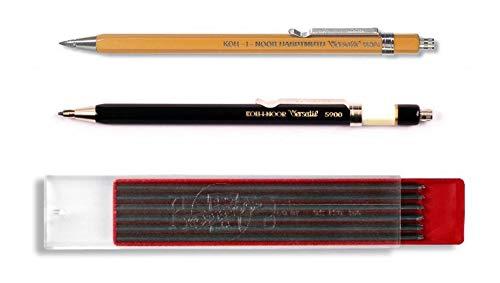 KOH-I-NOOR 5900 TOISEN D\'OR und 5201 VERSATIL - Metalldruckbleistifte mit Minenspitzer, Minenstärke 2 mm - 3er SET, Farben SCHWARZ und GELB und 2 mm GRAPHITMINEN 2B (12Stk.)