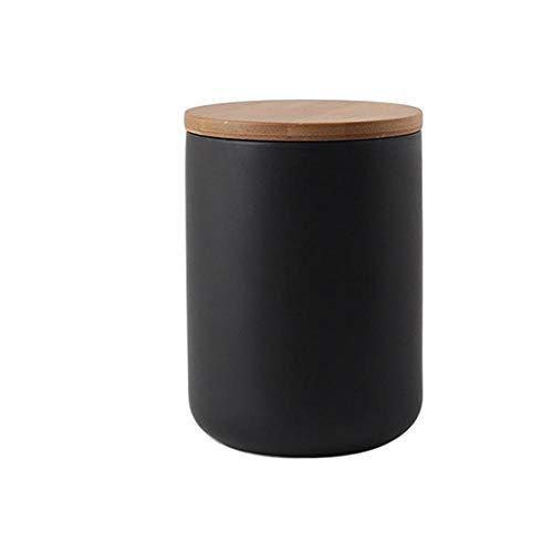 Modernes Design Keramik Vorratsglas Kanister für lose Tee Kaffee Spice Nuts Snacks Gewürze usw, Vorratsbehälter Kaffeedosen mit luftdichtem Verschluss Bambusdeckel (Schwarz 28.15oz/800ml)