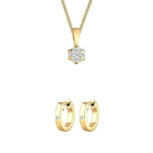 Diamore Damen Halskette 585 Gelbgold Diamant 0,15ct Gold Länge 45 cm + Diamore Damen-Creole Diamant - 0306430817