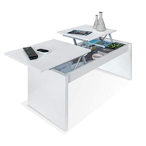 Habitdesign 001642A - Mesa de Centro elevable Modelo Side, mesita de Salon Comedor Acabado en Blanco Artik, Medidas: 102 cm (Largo) x 43-54 cm (Alto) x 50 cm (Fondo)
