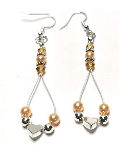 Ohrringe hängend, Damenohrringe mit kleinem Herz, Swarovski Perlen, ca. 7 cm lang, BRe-Art