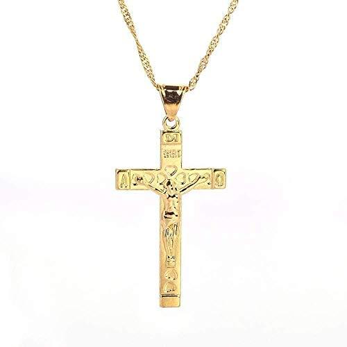 Yiffshunl Collar con Colgante de Cruz de Jesús, corazón de Color Dorado para Hombres, Collar con Colgante de joyería con Cruz de Jerusalén, Regalo para niñas y niños