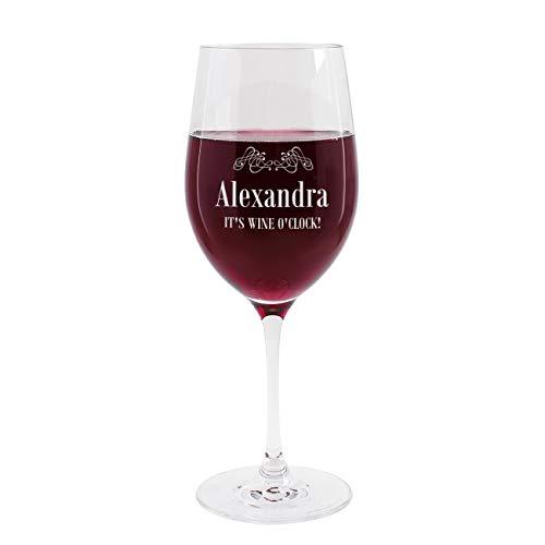 Herz & Heim® Weinglas mit Namensgravur It's wine o'clock - Geschenkidee für Weintrinker