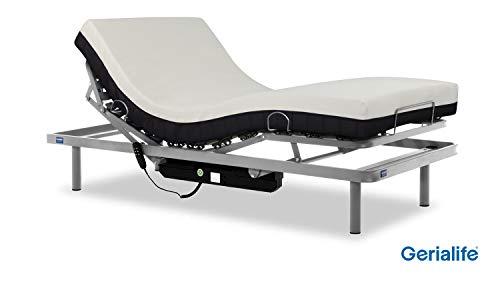 Gerialife® Cama articulada eléctrica con colchón ortopédico viscoelástico 20 cm. (105x190, Plateado)