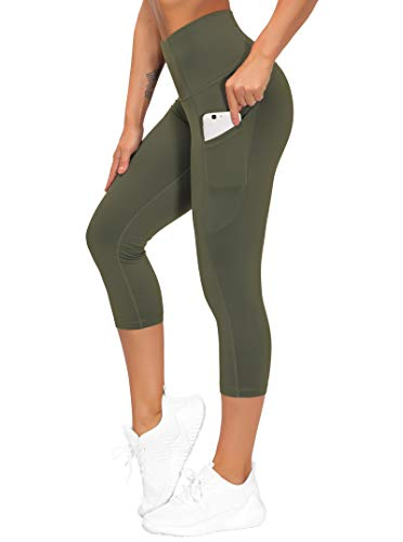THE GYM PEOPLE Thick High Waist Yoga Pants with Pockets  Tummy Control Workout Running Yoga Leggings for Women (Medium  Z-Capris Olive Green)