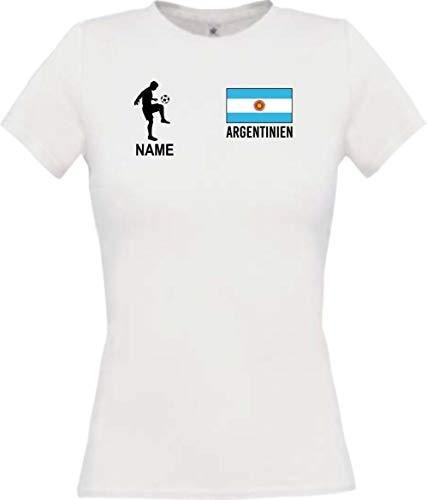 Shirtstown - Camiseta de fútbol de Argentina con nombre personalizado, camiseta de fútbol, camiseta de los países, camiseta deportiva, club, fútbol, texto en alemán Blanco XL