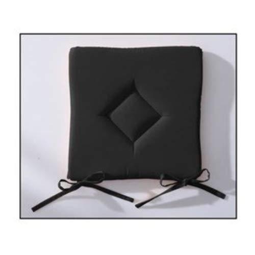 Galette de chaise - Matelassée - 40x40cm - Noir/réglisse (disponible en différent coloris) - Unie