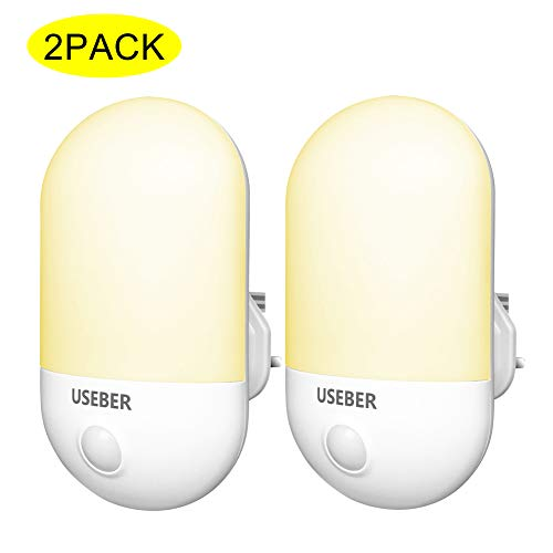 LED Night Light, [2 Pack] Useber Night Lights Plug in Walls with Dusk to Dawn Photocell Sensor, 0.5W Energy Saving, Warm White Night Lighting for Baby, Kids, Children's Room, Hallway, Stairs etc