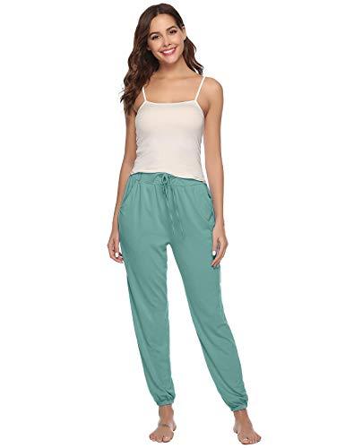 Abollria Pantalones de Pijama Mujer Largos de Suave,Comodo y Moderno,Pantalones Deportivos Casuales Ejercito Verde,XXL