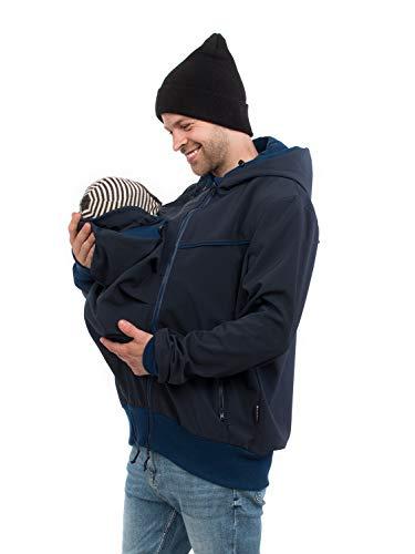 Viva la Mama - Jacke mit Trageeinsatz für Papa + Baby, Männer Softshelljacke Babytragen, Tragejacke Mann Allwetter - Explorer - Marine blau - L