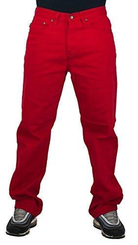 Peviani G - Jeans da Uomo in Denim, Colore: Rosso Rosso. 38W x 31L