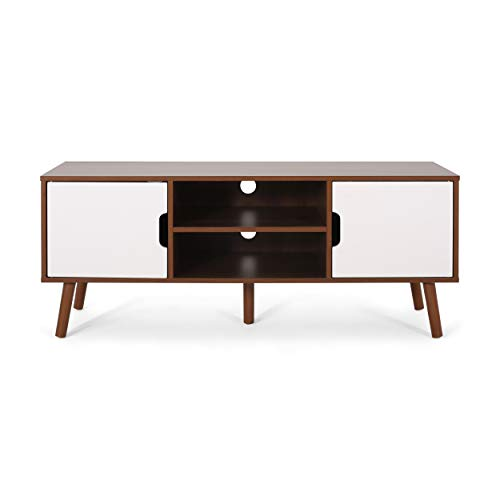 Christopher Knight Hom Lena TV Stand with 2 Doors and 2 Shelves, Walnut, White