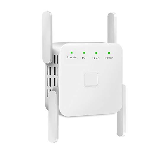 FeliSun Senza Fili WiFi ripetitore, Amplificatore di Segnale WiFi Range Extender Router Wi-Fi 1200Mbps Long Range Copertura WiFi Booster 2.4G 5G Doppia Banda Wi Fi Repeater con Funzione WPS (Bianca)