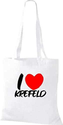 Shirtinstyle Stoffbeutel, I Love Krefeld, Lieblingsstadt, Heimatort, Familie, Urlaub, City, Stadt, Sprüche, Beutel, Jute, Tasche, Shopper, Farbe White