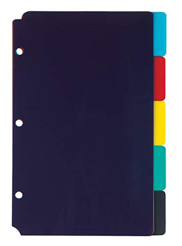 1InTheOffice Mini Binder dividers 5x8, 5 tab dividers for 3 Ring Binder Assorted Colors (Set 5 Tabs)