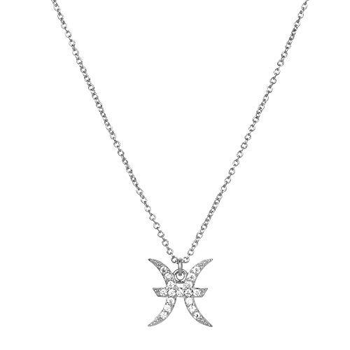 SHENSHI Collar De Mujer Plata,Collar De Cadena Larga con Símbolo De Constelación De Plata Esterlina 925 Ajustable Moda De Lujo Elegante Joyería Delicada Boda, PIS De Plata